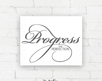 Recovery Art Print | Progress not perfection | Giclée, encouragement art print, typography poster, home decor, wall art, wall decor, AA