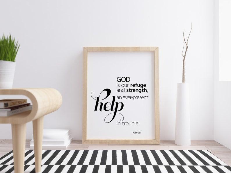 Psalm 43:1 God is our refuge Scripture Art Print  Bible verse image 0