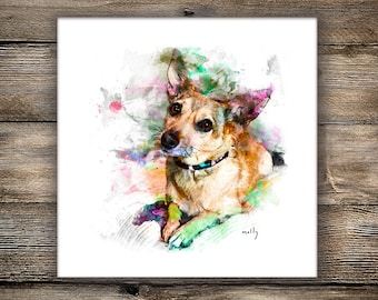 Custom Pet Portrait - Canvas Print or Art Print, Dog Portrait, Digital Pet Painting Based on Photo, Pet Memorial Gift, Pet Lover Gift