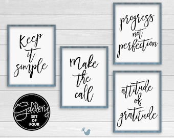 Recovery Art Prints | set of 4 prints {frames not included} |  Recovery typography poster, wall art, wall decor, encouragement art,