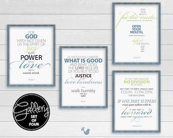 Spiritual Art Prints | set of 4 prints {frames not included} |  Bible verse typography poster, wall art, wall decor, spiritual art, Justice