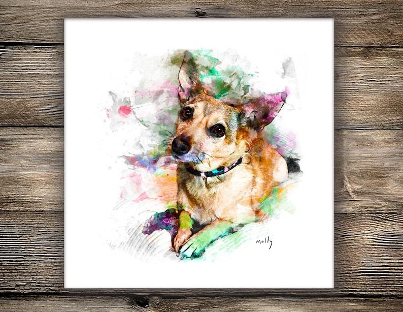 Custom Pet Portrait  Canvas Print or Art Print Dog Portrait image 0