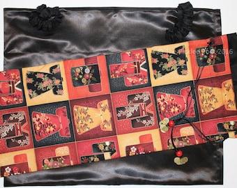 LARGE Mahjong rack bag & slipcase ~ draw-string ~ cotton shell and satin lining
