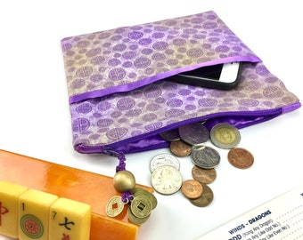 Coin/Card/Phone Purse ~ Mah Jongg ~ Mahjong ~ Gold Dust & Purple Luck