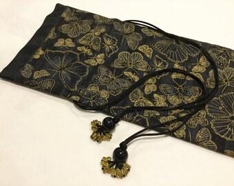 Small Mahjong rack bag ~ draw-string ~ cotton shell and satin lining