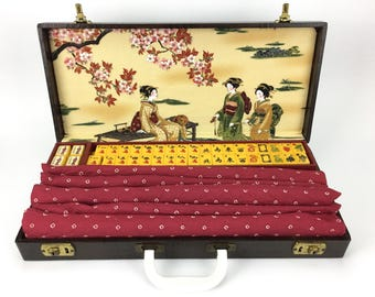 "SUPERB Vintage Mahjong Set ""Geisha Garden"" ~ Royal Depth Control ~ 152 Catalin/Bakelite tiles ~ 5 Catalin Racks ~ Mah Jongg"