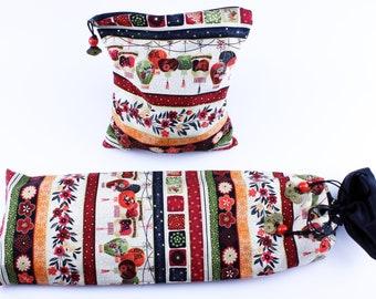 Mahjong Rack Bag & Tile Bag set ~ Garden Lanterns ~ Mah Jongg