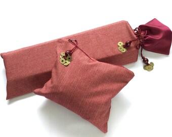 Small Burgundy Mahjong Rack Bag & Tile Bag ~ cotton shell and satin lining ~