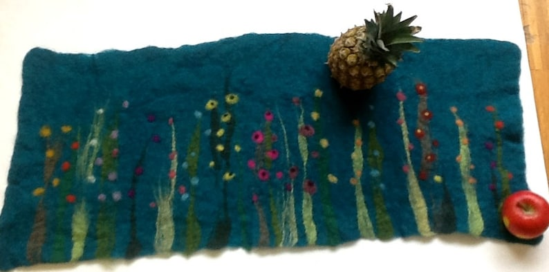 petrol Table Runner Grass and Flowers