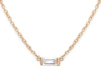 f4e11fc9c51 14k Baguette Diamond 0.13ct Solitaire baguette Diamond Necklace
