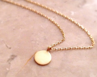 Solid gold 10mm Disc, Personalized with letter small plate Necklace, 14k Gold disc Necklace, Silver, Gold, Rose Gold disc, tiny charm