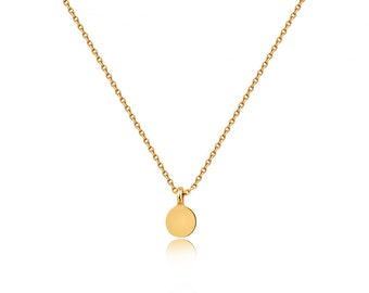 Solid gold 6mm Disc, Personalized with letter small plate Necklace, 14k Gold disc Necklace, Silver, Gold, Rose Gold disc, tiny charm