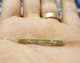 367ad535fc8 14k Solid Gold Personalized Memorial handwriting Bar Bracelet Initial  Bracelet, Custom Made original handwriting engrave bar Bracelet