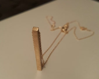 14k Solid Gold 3D bar necklace, 4 sided cube bar, Gold vertical bar necklace, Jewelry, Gold bar, longitude, coordinates, names, engraved,
