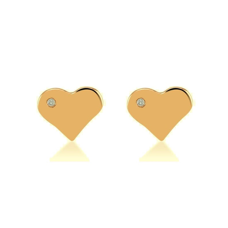 cc47f6450 14k Solid Gold heart stud earings with real diamond 14k solid   Etsy