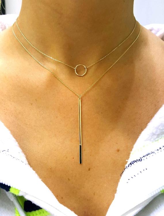 14K Gold Wire Choker | 14k Solid Gold Circle Choker Round Wire Choker Wire Choker Etsy