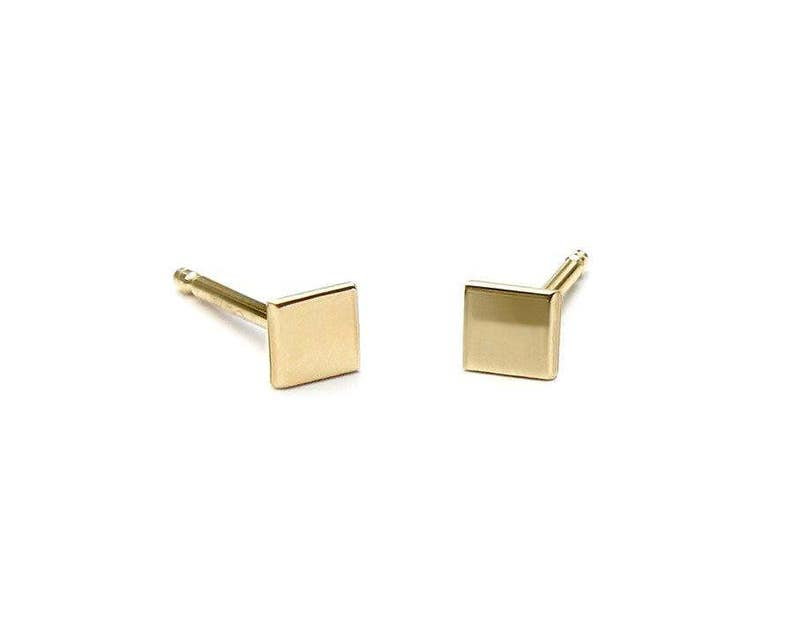 f6116581807c7 Gold Studs 3mm 5mm 7mm 9mm 10mm gold earrings gold stud earrings matte  shiny stud 14k Gold square Studs Tiny square mom gift idea rose gold