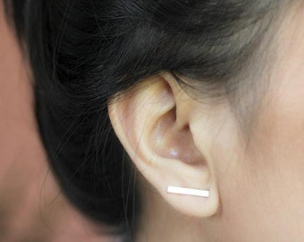 Gold Bar Studs, Shiny, Gold fill,  Bar Stud Earrings, Line Earrings, Ear Bars, Gold Post Earrings, Minimalist, Fashion Jewelry, Gift,