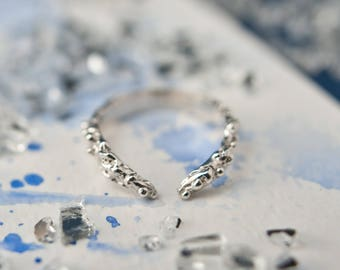 Alternative organic textured silver ring, everyday wear, stackable silver ring, adjustable ring