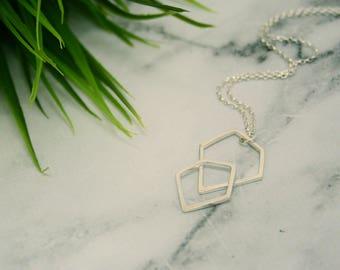 Geometric Layered Silver Pendant