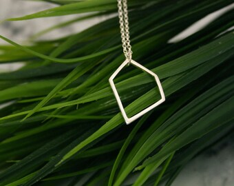 Large Geometric Silver Pendant