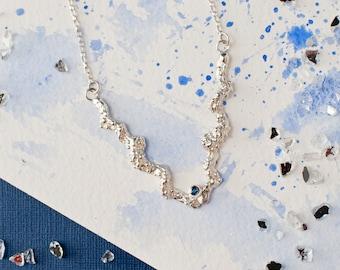 Organic Silver Chevron Bar Textured Pendant with tube set Sapphire, Sapphire silver pendant, abstract pendant, organic silver necklace