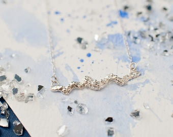 Organic Silver Bar Textured Pendant, everyday silver pendant, abstract pendant, organic silver necklace