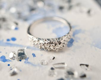 Alternative organic textured silver ring, everyday wear, stackable silver ring