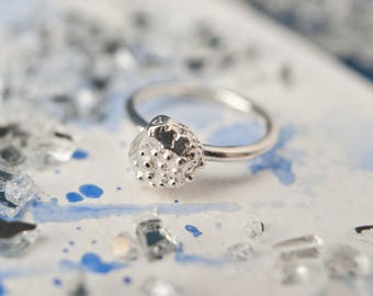 Alternative organic textured silver ring, everyday wear, stackable silver ring, statement ring