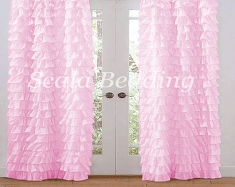 Pink Multi Ruffle Door Window Curtains Top Rod Pocket All Size 2 Panel