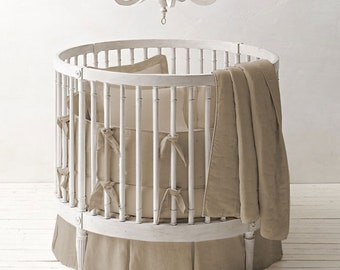 """42"""" Round 3pc Crib Bedding Set Fitted , Skirt and Bumper Select Color"""