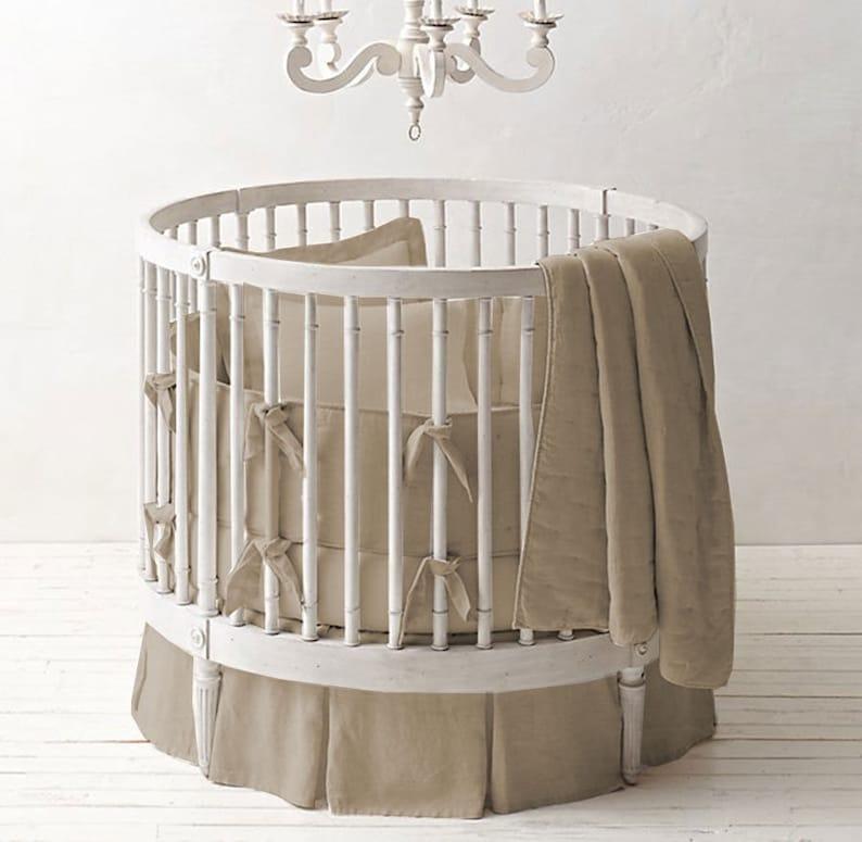 Baby Doll Bedding Solid Reversible Round Crib Bedding Set Grey//Blue