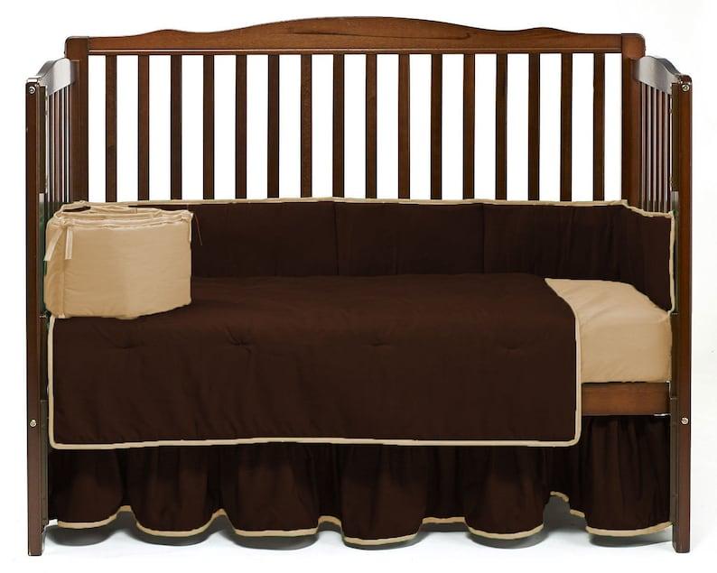 Crib Reversible Bedding set 5pc Fitted Pillowcase  Comforter Skirt Bumper