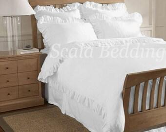 Solid Edge Ruffle Duvet Cover Set 100% Egyptian Cotton Full/Queen White
