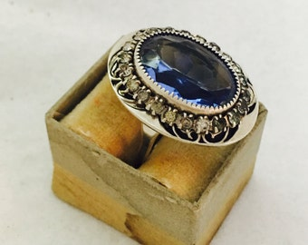Vintage Sterling Silver Ring with Sky Blue Topaz and Rhinestone Accents - Size 6 Adjustable - 8.0 Grams