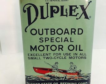 """Vintage Rare Old Quaker State Oil """"Duplex"""" Outboard Special Motor Oil Quart Can - Great Condition, Original Red Cap, SAE 30"""