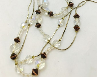 "Vintage Crystal Rondelle Beaded 14K Gold Flapper Necklace - 58"" Long"