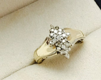 Vintage 10K Yellow Gold Diamond Cluster Ring - Size 6.25 - 3.4 Grams