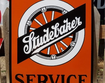 Rare Original  Vintage  Studebaker Service Double Sided Porcelain Enamel Sign
