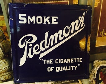 Vintage Smoke Piedmont Cigarette Double Sided Porcelain Sign Chair Back