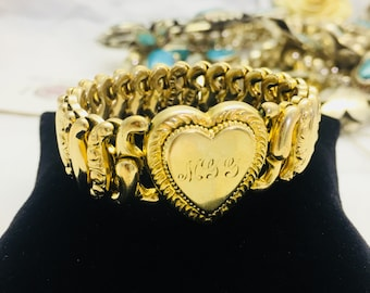 "Vintage American Queen Sweetheart Bracelets  Gold plated Initial ""MGG"" or""MJJ""Expandable Link Bracelet"