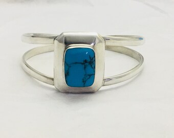 Vintage TD-125  Mexico Sterling Silver 925 Turquoise CHUNKY Cuff Bracelet -weighs 38.8grams