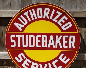 "Vintage Original 42"" Studebaker Authorized Service Double Sided Porcelain Enamel Sign"