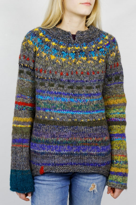 Hand Knitted Design Sweater Etsy