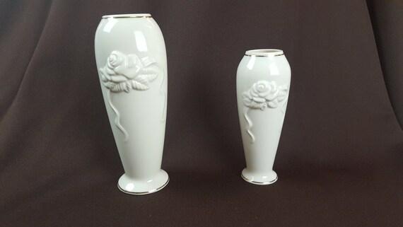 Lenox Vases Set Of Three 2 Porcelain Embossed Rose Roses Etsy