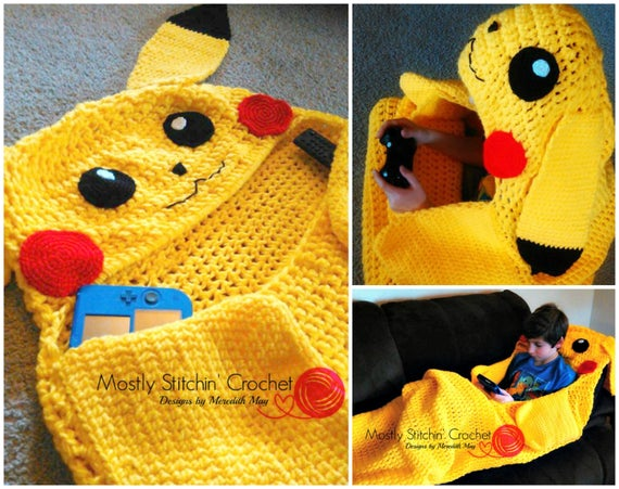 Cuddle Up Pikachu Amigurumi Snuggle Blanket Crochet Pattern Etsy