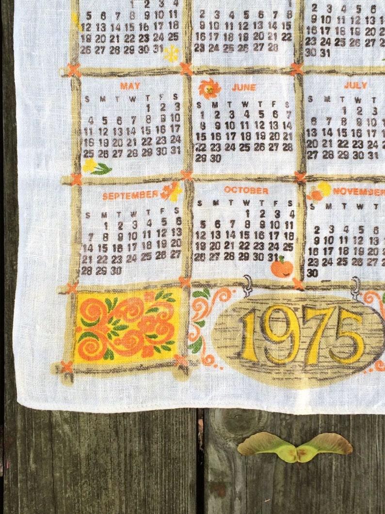 Vintage dish towel 1975  Calendar motif  Linen tea towel image 0