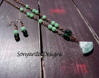 Handmade Green Marble Pendant Antique Copper Chain Necklace by Sonyarita Designs