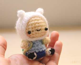 Chibi Finn amigurumi adventure time inspired character crochet doll