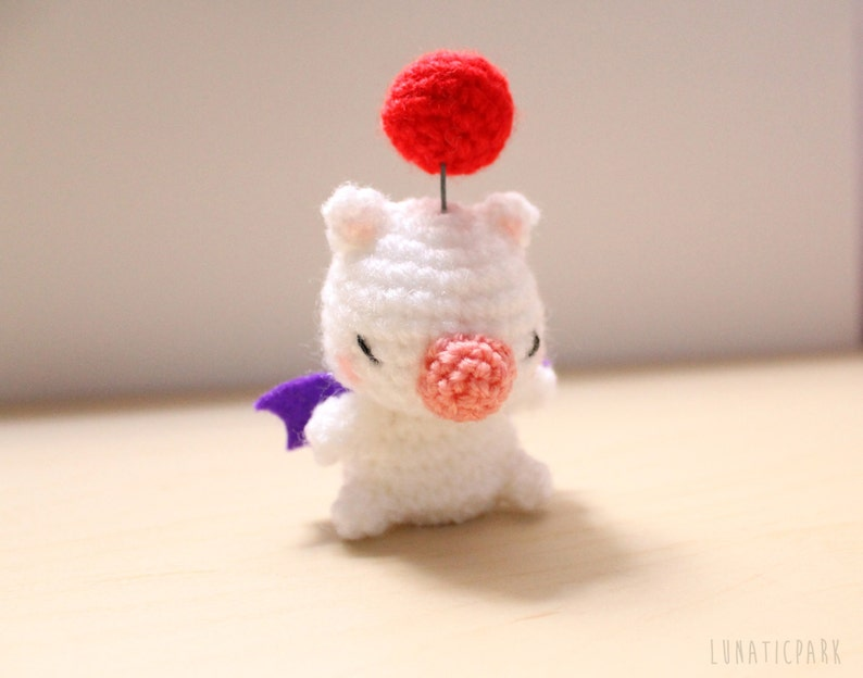 Cute amigurumi Moogle Moguri from final fantasy  as keychain image 0